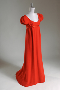 Norman Norell, dress, red wool crepe and satin, 1962, USA, gift of Claudia Halley.