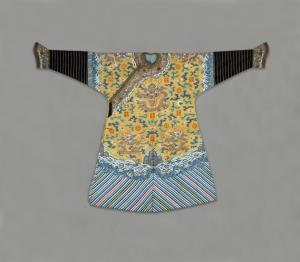 Imperial Manchu Man's Semiformal Court Robe with Twelve Symbols of Sovereignty.  China, Qing Dynasty:  1850-1875, Woven silk and metal thread tapestry.  Neusteter Textile Collection: Gift of James P. Grant and Betty Grant Austin, 1977.196