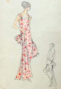 Fashion Drawing of the front view of a below the knee, sleeveless robe du soir with a square cut neckline with wide shoulder straps gathered into it, a draped bodice with a natural waistline, and a skirt decorated with large puffs of fabric. One is placed on the back side waist and the other at the back side hip, which creates a large ruffle at the front of the dress. A pointed panel inserted at the left side waist seams gathered fabric to the skirt to fall to floor length. There is a pencil drawing of the back view on the bottom right.