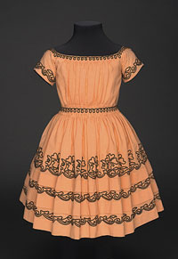 Girl's Dress, c. 1842-45 American Wool plain weave, wool braid, silk twill ribbon Gift of Mrs. H. H. La Ment, 1966 1966-192-5, Philadelphia Museum of Art