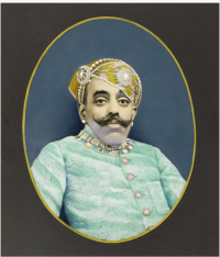 Chaganlal (India, active 1916–45), Maharana Bhupal Singh (r. 1930–55), India, Rajasthan, Mewar, Udaipur, c. 1940, Opaque watercolor on photograph, and cardboard mount, South and Southeast Asian Acquisition Fund, M.2004.192.  Los Angeles County Museum of Art.