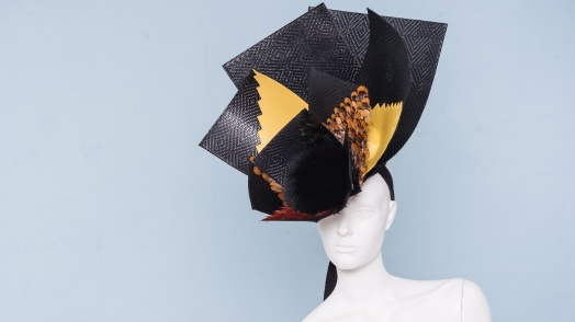 Giant Leather Basketweave & Feather Headpiece,  Noel Stewart (British)