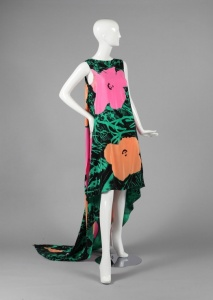 Halston-Evening-Dress-Flowers-Motif