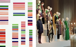 Images: Ottavio Missoni, Untitled, 1973, 173×98 cm, acrylic on board. 'Le forme della moda', The Forms of Fashion installation of Missoni garments dating from 1953 to 2014 at MISSONI, L'ARTE, IL COLORE, 2015. Courtesy MA*GA Art Museum.