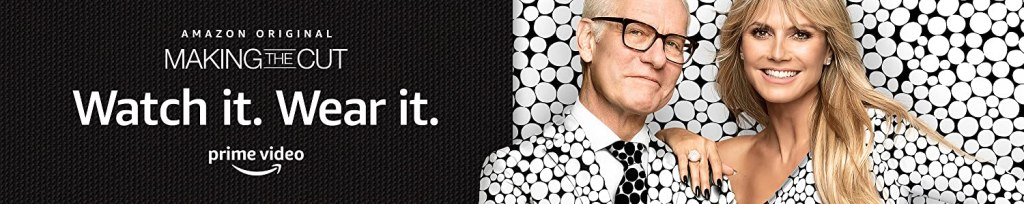 """Tim Gunn and Heidi Klum wear black and white polka dots and smile at the camera in a banner advertising """"Making the Cut"""" from the Amazon webpage."""
